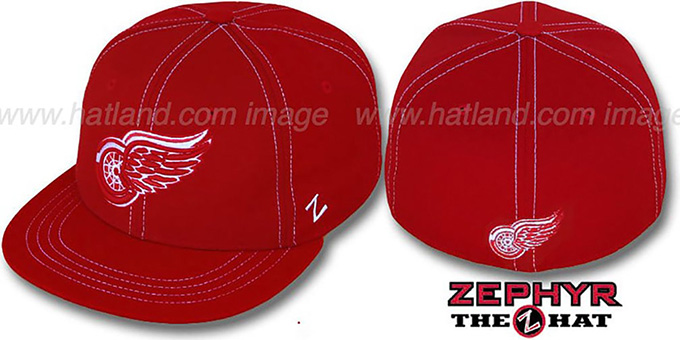 Red Wings 'CONTRAST THREAT' Red Fitted Hat by Zephyr : pictured without stickers that these products are shipped with
