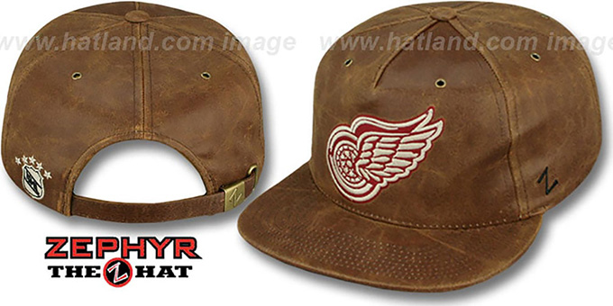 Red Wings 'DYNASTY LEATHER STRAPBACK' Brown Hat Zephyr : pictured without stickers that these products are shipped with