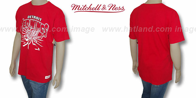Red Wings 'EARTHQUAKE' Red T-Shirt by Mitchell & Ness : pictured without stickers that these products are shipped with