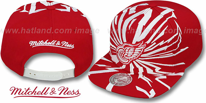 Red Wings 'EARTHQUAKE SNAPBACK' Red Hat by Mitchell and Ness : pictured without stickers that these products are shipped with