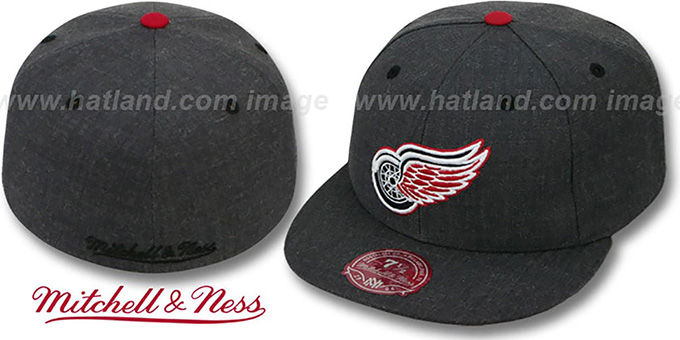 Red Wings 'GREY HEDGEHOG' Fitted Hat by Mitchell and Ness : pictured without stickers that these products are shipped with