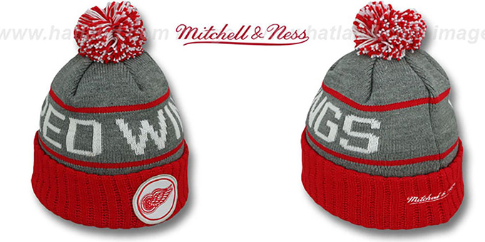 Red Wings 'HIGH-5 CIRCLE BEANIE' Grey-Red by Mitchell and Ness : pictured without stickers that these products are shipped with