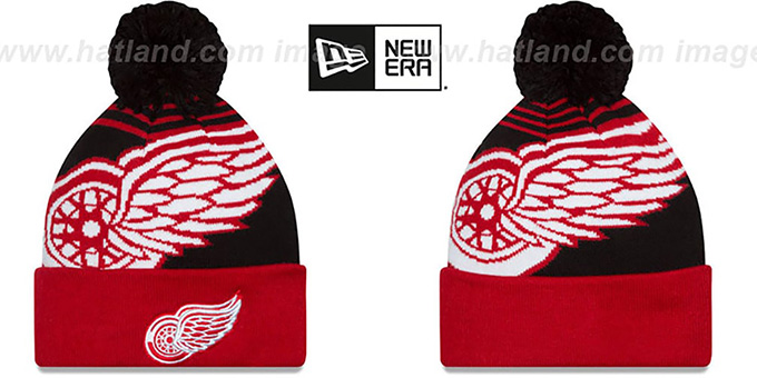 Red Wings 'LOGO WHIZ' Black-Red Knit Beanie Hat by New Era : pictured without stickers that these products are shipped with