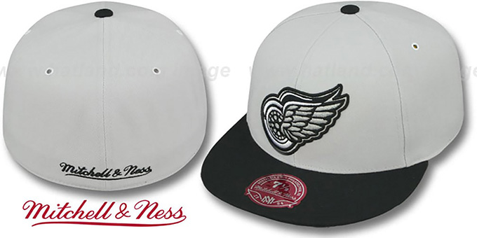 Red Wings 'MONOCHROME XL-LOGO' Grey-Black Fitted Hat by Mitchell & Ness : pictured without stickers that these products are shipped with