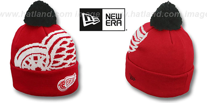Red Wings 'NHL-BIGGIE' Red Knit Beanie Hat by New Era : pictured without stickers that these products are shipped with