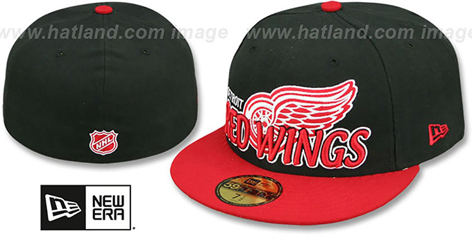 Red Wings 'NHL-TIGHT' Black-Red Fitted Hat by New Era : pictured without stickers that these products are shipped with