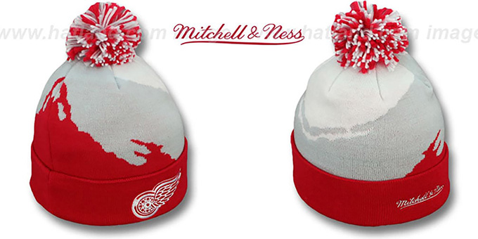 Red Wings 'PAINTBRUSH BEANIE' by Mitchell and Ness : pictured without stickers that these products are shipped with