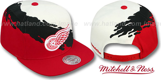 Red Wings 'PAINTBRUSH SNAPBACK' White-Black-Red Hat by Mitchell & Ness : pictured without stickers that these products are shipped with
