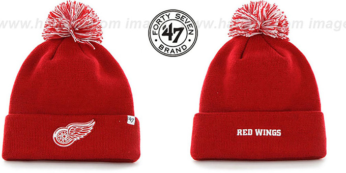Red Wings 'POMPOM CUFF' Red Knit Beanie Hat by Twins 47 Brand : pictured without stickers that these products are shipped with