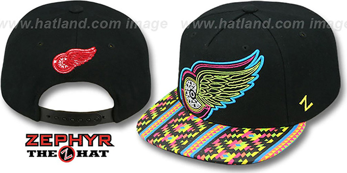 Red Wings 'RAVE-2 SNAPBACK' Black Hat by Zephyr : pictured without stickers that these products are shipped with