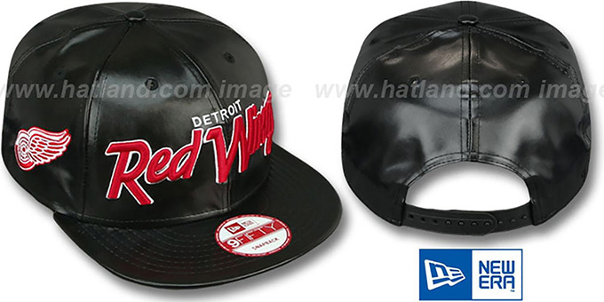 Red Wings 'REDUX SNAPBACK' Black Hat by New Era : pictured without stickers that these products are shipped with