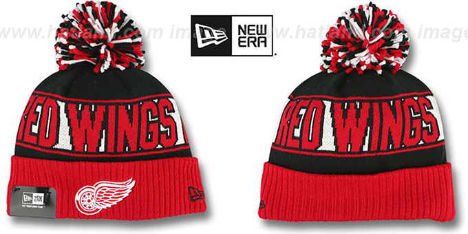 Red Wings 'REP-UR-TEAM' Knit Beanie Hat by New Era : pictured without stickers that these products are shipped with