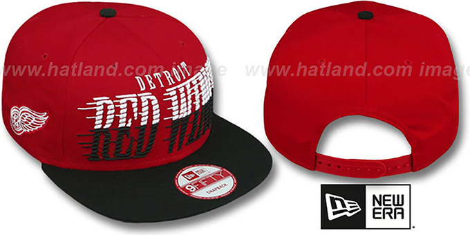 Red Wings 'SAILTIP SNAPBACK' Red-Black Hat by New Era : pictured without stickers that these products are shipped with