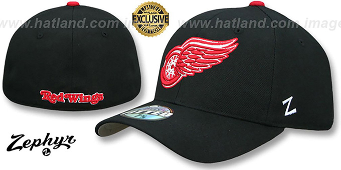 b418d23c642 Detroit Red Wings SHOOTOUT Black Fitted Hat by Zephyr
