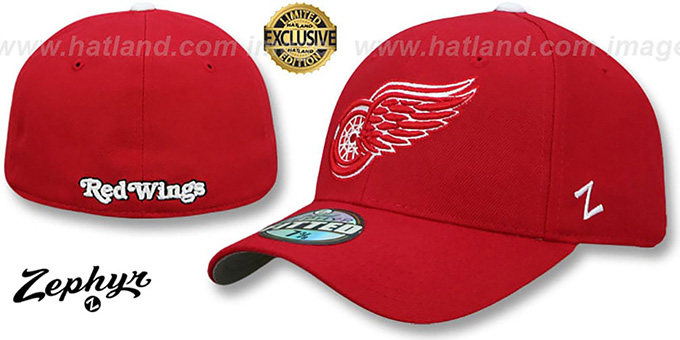 Red Wings 'SHOOTOUT' Red Fitted Hat by Zephyr : pictured without stickers that these products are shipped with