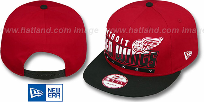 Red Wings 'SLICE-N-DICE SNAPBACK' Red-Black Hat by New Era : pictured without stickers that these products are shipped with