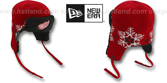 Red Wings 'SNOWFLAKE TRAPPER' Red-Black Knit Hat by New Era : pictured without stickers that these products are shipped with
