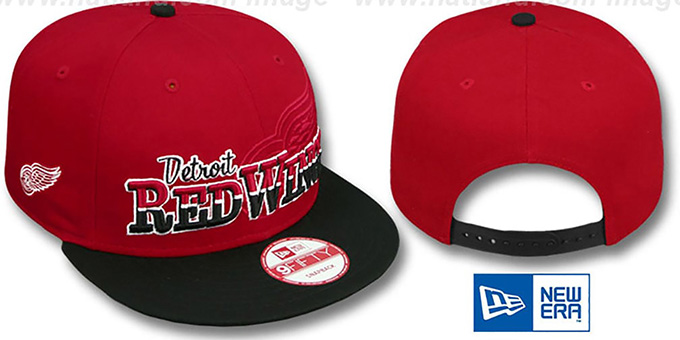 Red Wings 'SPLIT-BLOCK SNAPBACK' Red-Black Hat by New Era : pictured without stickers that these products are shipped with