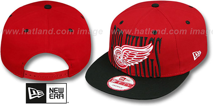 Red Wings 'STEP-ABOVE SNAPBACK' Red-Black Hat by New Era : pictured without stickers that these products are shipped with
