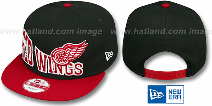 Red Wings 'STOKED SNAPBACK' Black-Red Hat by New Era : pictured without stickers that these products are shipped with