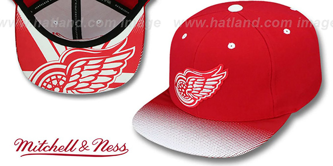 Red Wings 'STOP-ON-A-DIME SNAPBACK' Red-White Hat by Mitchell and Ness : pictured without stickers that these products are shipped with