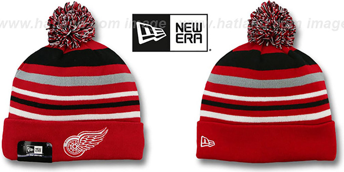 Red Wings 'STRIPEOUT' Knit Beanie Hat by New Era : pictured without stickers that these products are shipped with
