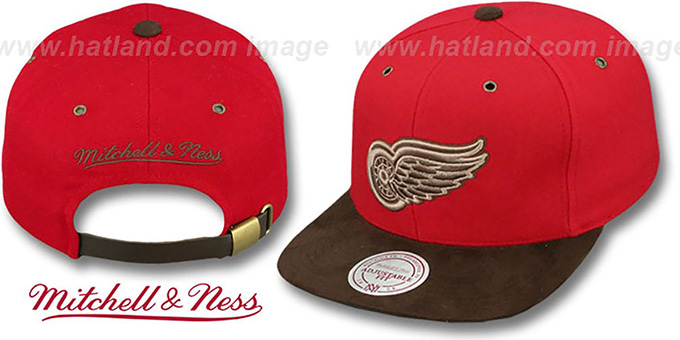 Red Wings 'TC-BROWN SUEDE STRAPBACK' Hat Mitchell & Ness : pictured without stickers that these products are shipped with