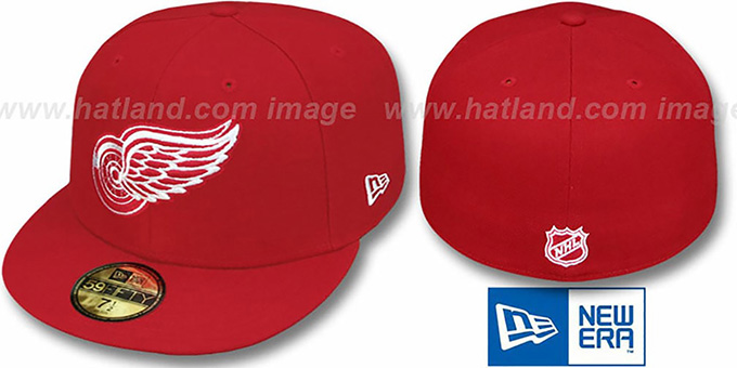 Red Wings 'TEAM-BASIC' Red Fitted Hat by New Era : pictured without stickers that these products are shipped with