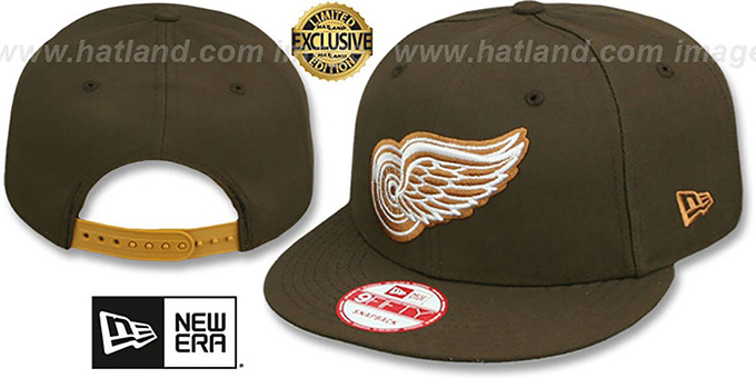 Red Wings 'TEAM-BASIC SNAPBACK' Brown-Wheat Hat by New Era : pictured without stickers that these products are shipped with