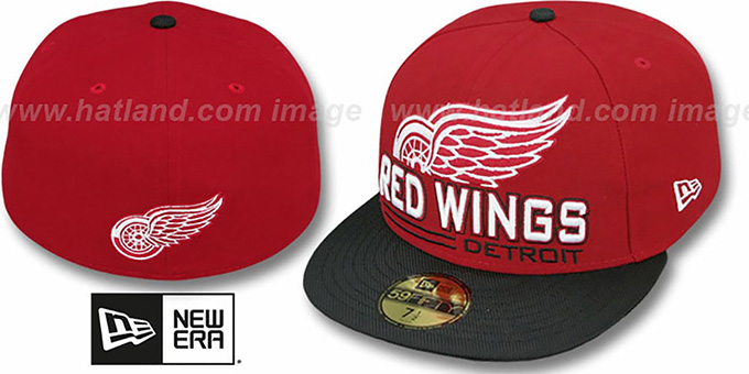 Red Wings 'TECH MARK' Red-Black Fitted Hat by New Era : pictured without stickers that these products are shipped with