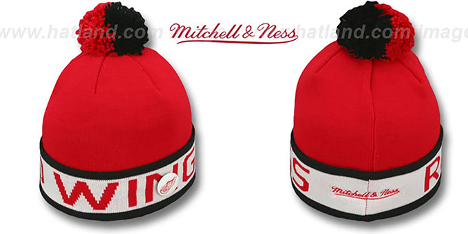 Red Wings 'THE-BUTTON' Knit Beanie Hat by Michell & Ness : pictured without stickers that these products are shipped with