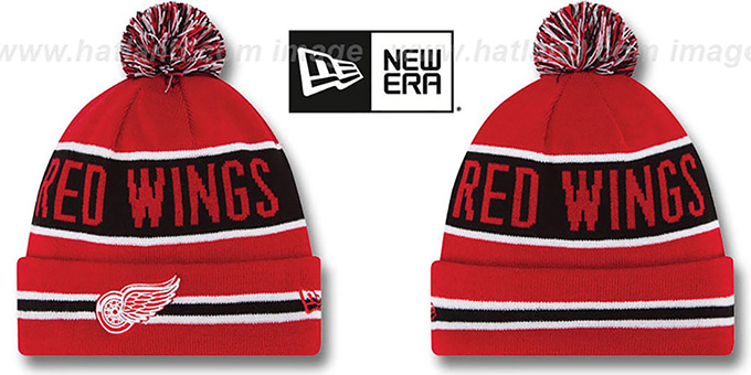 Red Wings 'THE-COACH' Red Knit Beanie Hat by New Era : pictured without stickers that these products are shipped with