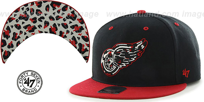 Red Wings 'THE-PLAINS LEOPARD SNAPBACK' Hat by Twins 47 Brand : pictured without stickers that these products are shipped with