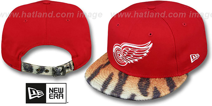 Red Wings 'TIGER ANIMALISTIC-FUR VIZA STRAPBACK' Hat by New Era : pictured without stickers that these products are shipped with