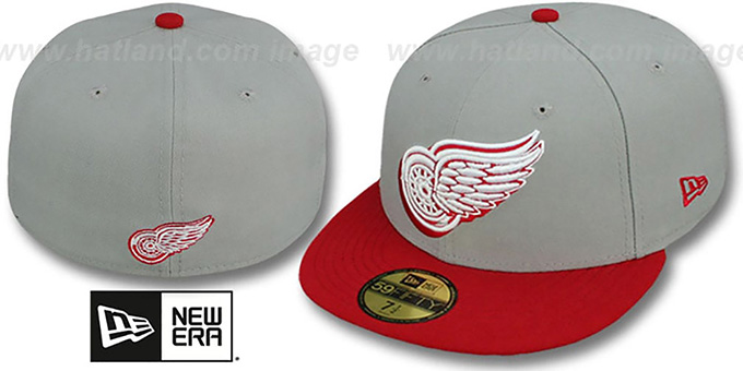 Red Wings 'TRACE-POP' Grey-Red Fitted Hat by New Era : pictured without stickers that these products are shipped with