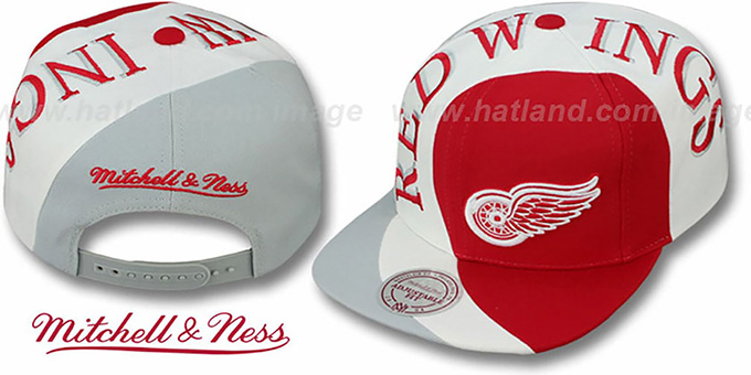 Red Wings 'TWIRL SNAPBACK' Hat by Mitchell & Ness : pictured without stickers that these products are shipped with