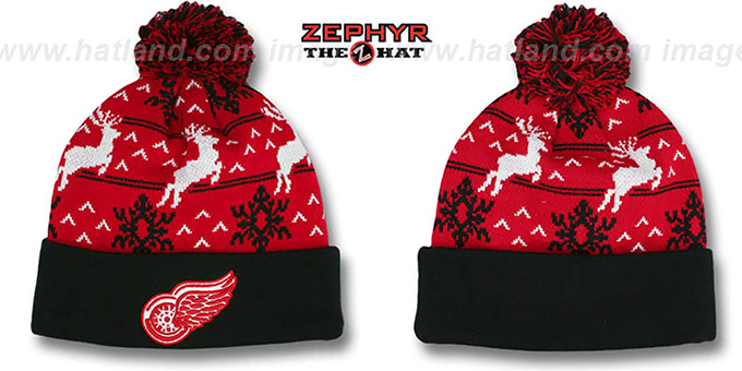 Red Wings 'UGLY SWEATER' Black-Red Knit Beanie Hat by Zephyr : pictured without stickers that these products are shipped with