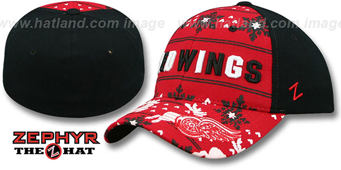 Red Wings 'UGLY SWEATER FLEX' Black-Red Hat by Zephyr : pictured without stickers that these products are shipped with