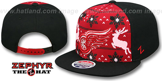 Red Wings 'UGLY SWEATER SNAPBACK' Black-Red Hat by Zephyr : pictured without stickers that these products are shipped with