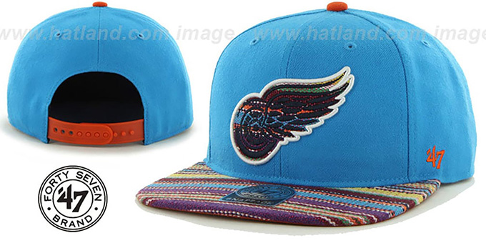 Red Wings 'WARCHILD SNAPBACK' Blue Hat by Twins 47 Brand : pictured without stickers that these products are shipped with
