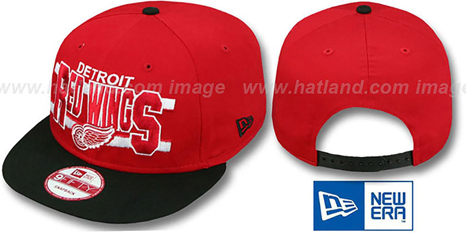 Red Wings 'WORDSTRIPE SNAPBACK' Red-Black Hat by New Era : pictured without stickers that these products are shipped with