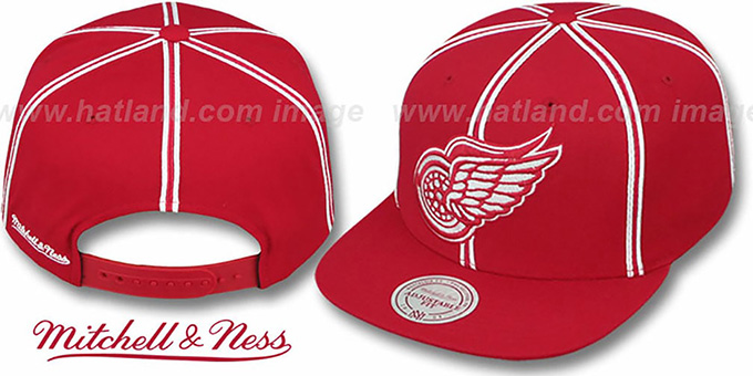 Red Wings 'XL-LOGO SOUTACHE SNAPBACK' Red Adjustable Hat by Mitchell & Ness : pictured without stickers that these products are shipped with