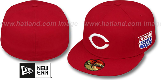 Reds 1975 'WORLD SERIES CHAMPS' GAME Hat by New Era : pictured without stickers that these products are shipped with