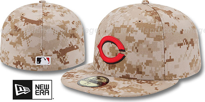 Reds 2013 'STARS N STRIPES' Desert Camo Hat by New Era : pictured without stickers that these products are shipped with