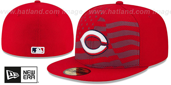 Reds '2015 JULY 4TH STARS N STRIPES' Hat by New Era : pictured without stickers that these products are shipped with