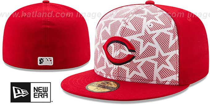 Reds '2016 JULY 4TH STARS N STRIPES' Fitted Hat by New Era : pictured without stickers that these products are shipped with