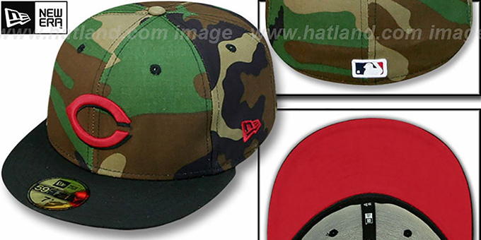 Reds '2T CAMO' Army-Black Fitted Hat by New Era : pictured without stickers that these products are shipped with