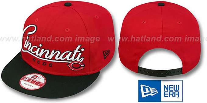 Reds '2T CHARZ SNAPBACK' Red-Black Hat by New Era : pictured without stickers that these products are shipped with