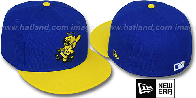 Reds '2T-FASHION ALTERNATE' Royal-Yellow Fitted Hat by New Era : pictured without stickers that these products are shipped with