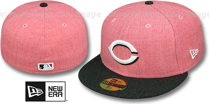 Reds '2T-HEATHER ACTION' Red-Charcoal Fitted Hat by New Era : pictured without stickers that these products are shipped with
